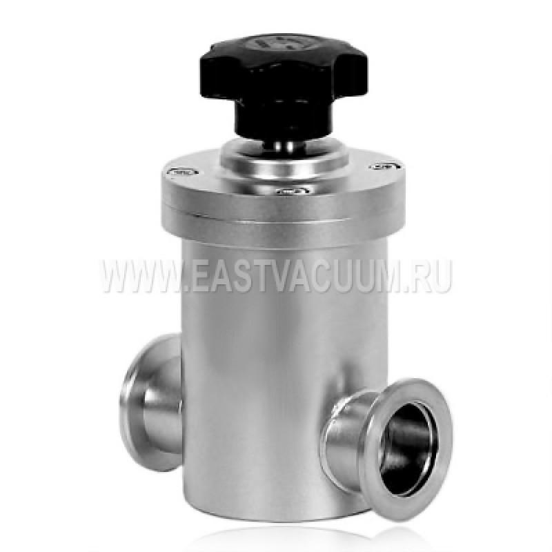 Прямоточный клапан KF16 ручной, витоновое уплотнение (нержавеющая сталь)