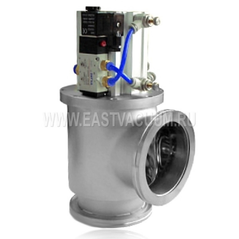 Угловой клапан ISO 63 с пневмоприводом, сильфонное уплотнение (нержавеющая сталь)